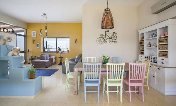 colorful wood dining room chairs