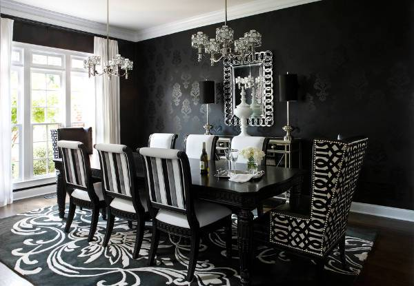 luxury black and white dining room chairs