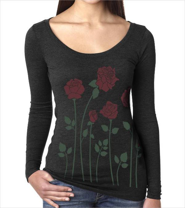 long sleeve rose print black t shirt