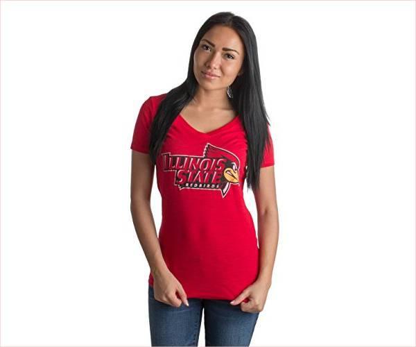 red vintage v neck t shirt