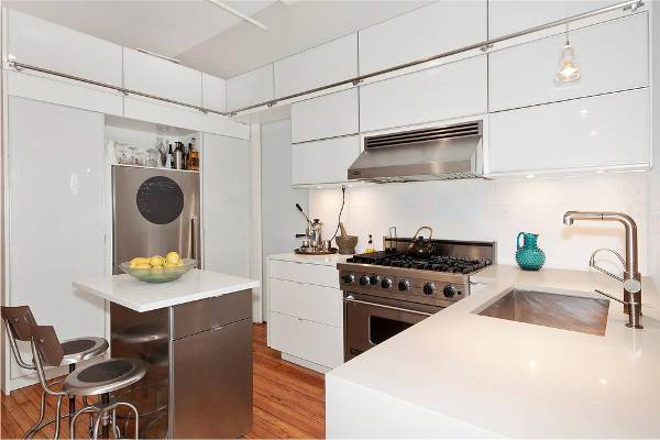 small modern white kitchen cabinets