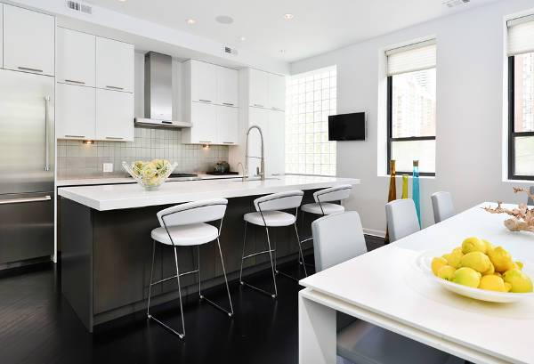 contemporary white metal kitchen cabinets