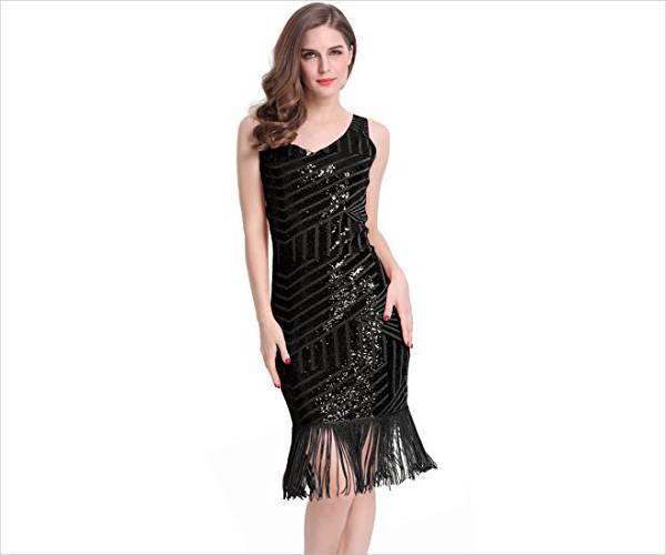 black fringe sequin dress