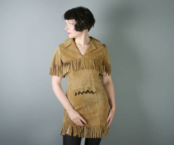 vintage leather fringe dress