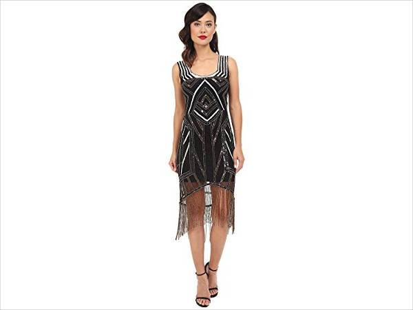 beaded fringe flapper dress