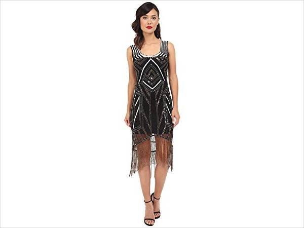 beaded fringe flapper dress