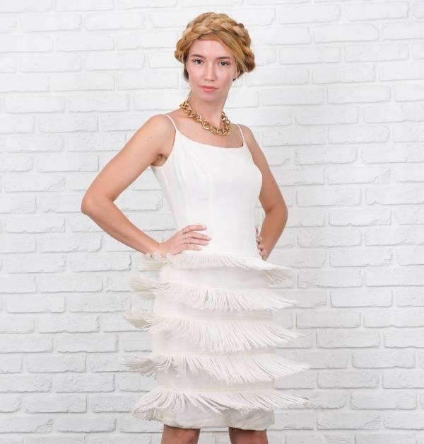 white fringe cocktail dress