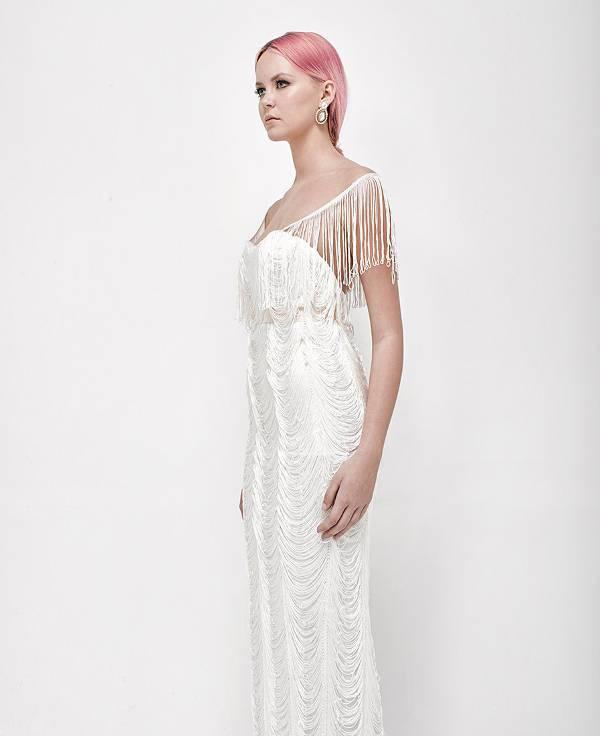 white fringe wedding dress