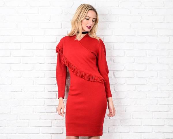 long sleeve red fringe dress