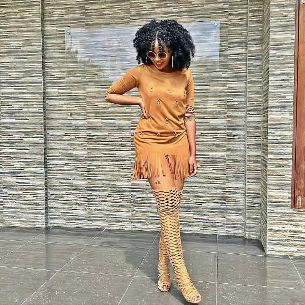 trendy short fringe dress