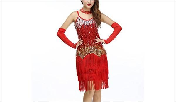 red fringe party dress