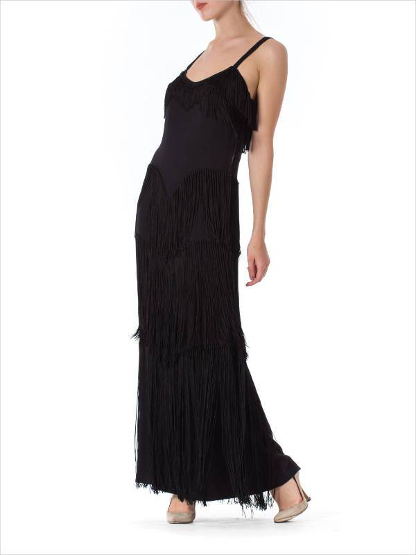 black fringe tiered dress