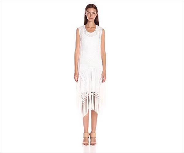 cool white fringe dress