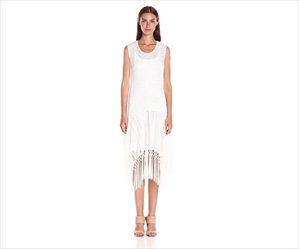 cool white fringe dress