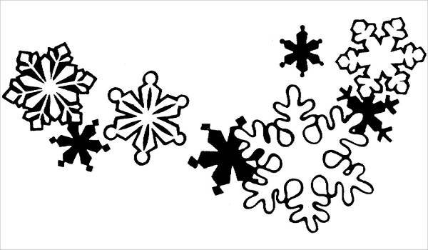 black and white snowflake ornament clipart