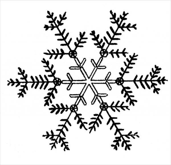 simple black and white snowflake clipart