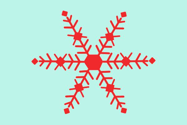 free red snowflake clipart
