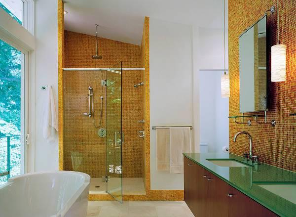 contemporary shower mosaic tile