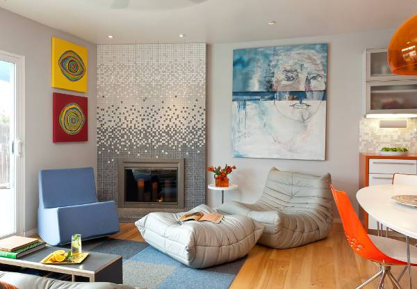 modern fireplace mosaic tile