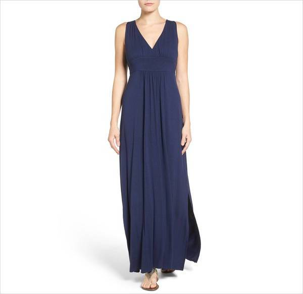 casual blue long dress