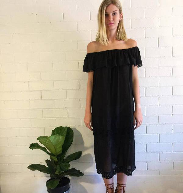off shoulder black casual dress