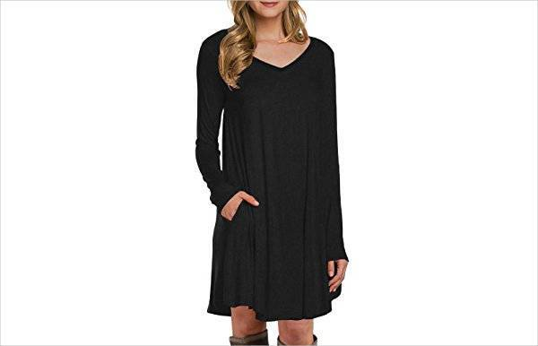 long sleeve black casual dress