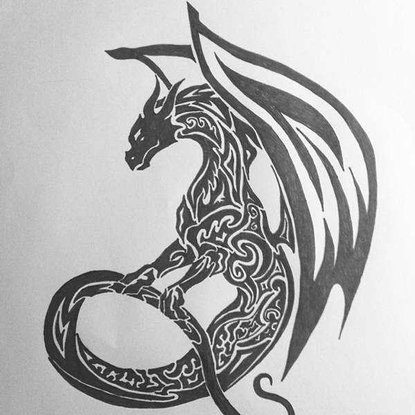 tribal dragon tattoo drawing