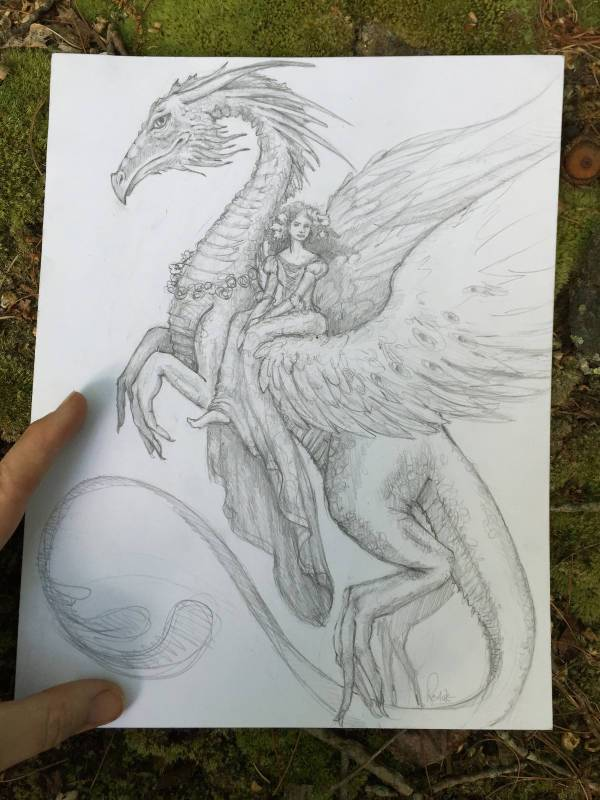 Flying Dragon Drawing with Girl