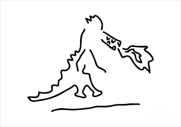 Simple Cartoon Dragon Drawing