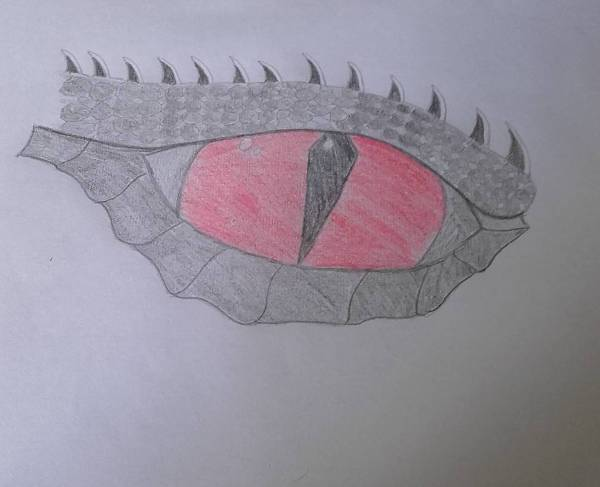 black and red dragon eye drawing