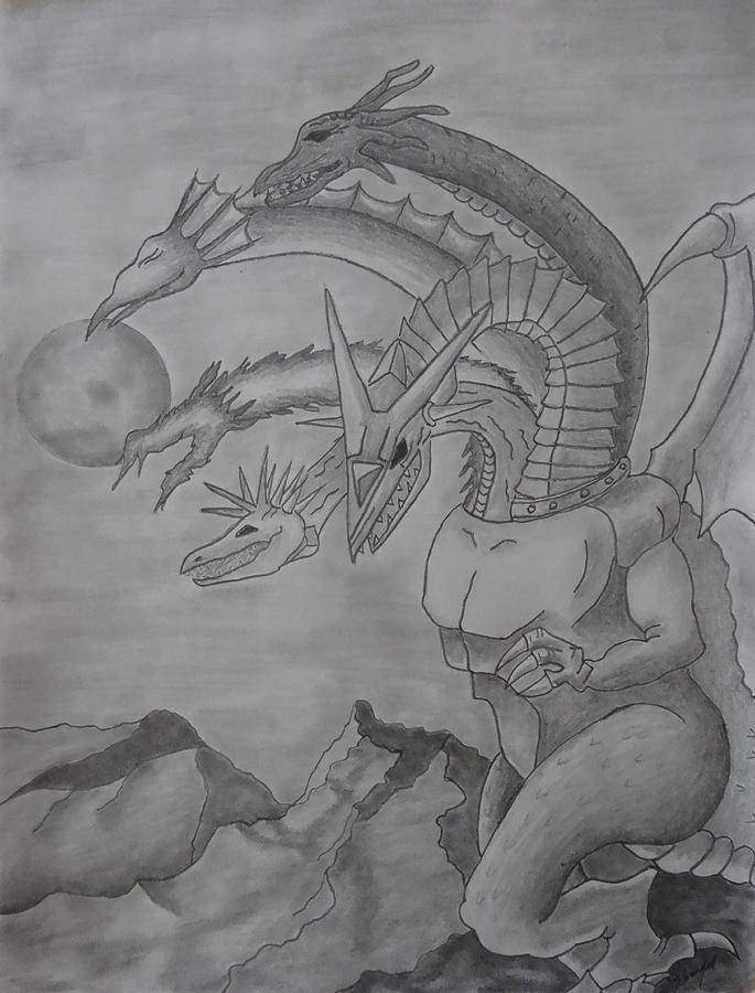 5 headed dragon pencil drawing