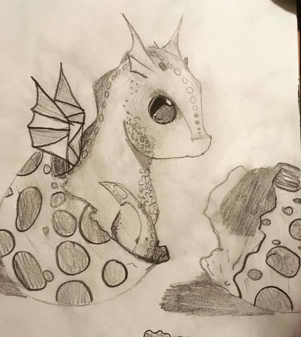 cute baby dragon drawing