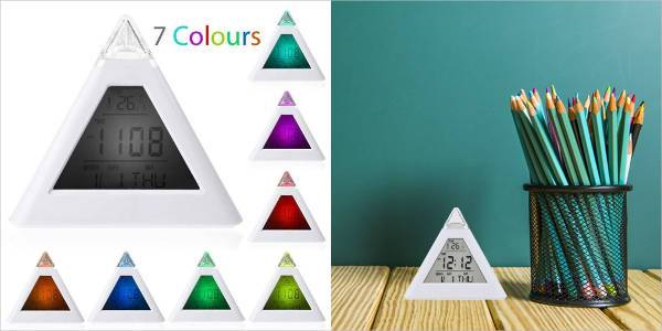 pyramid shaped digital alarm clock