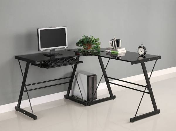 Black Glass Office Desk