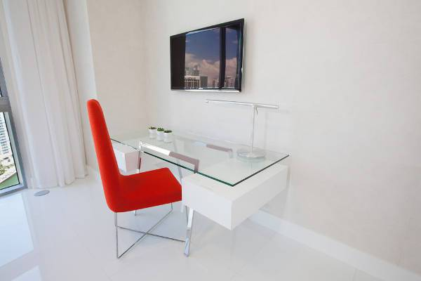 contemporary glass executive desk