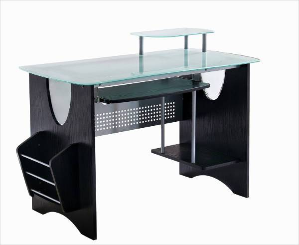 modern glass desk with storage