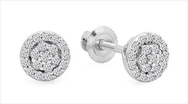 cluster round diamond earrings