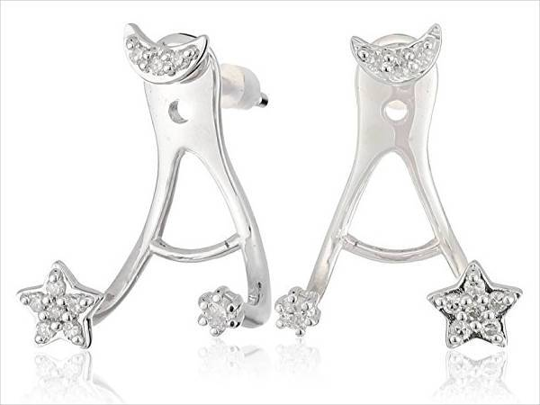 moon and star diamond earrings