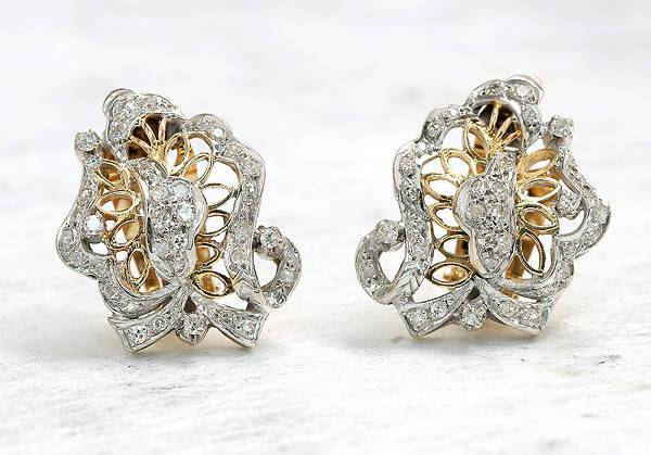 beautiful clip on diamond earrings