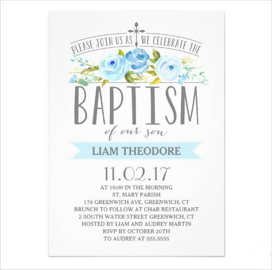simple boy baptism invitation
