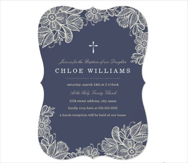 vintage lace baptism invitation