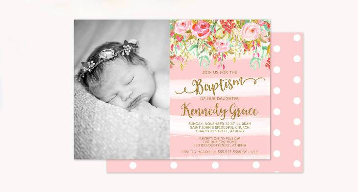 10 Baptism Invitations Printable PSD AI Vector EPS Design