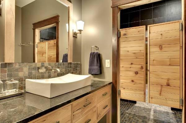 vintage wooden shower door