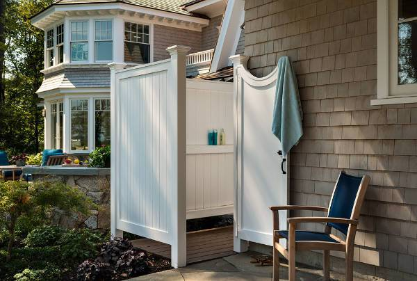 White Outdoor Shower Door