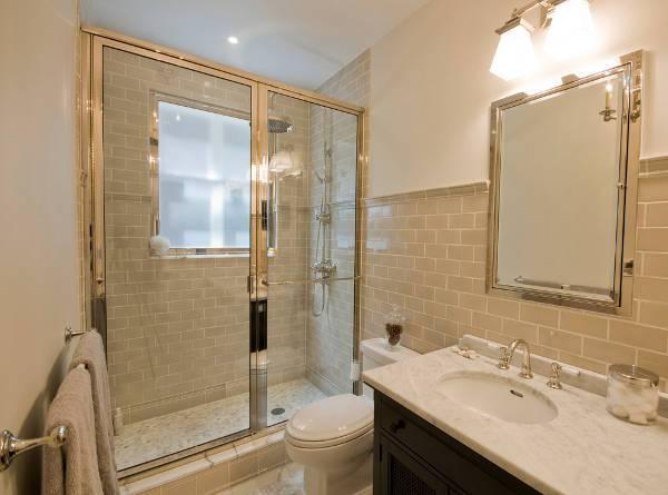 traditional hinged shower door