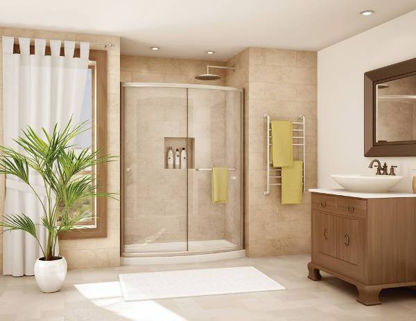 contemporary curved shower door