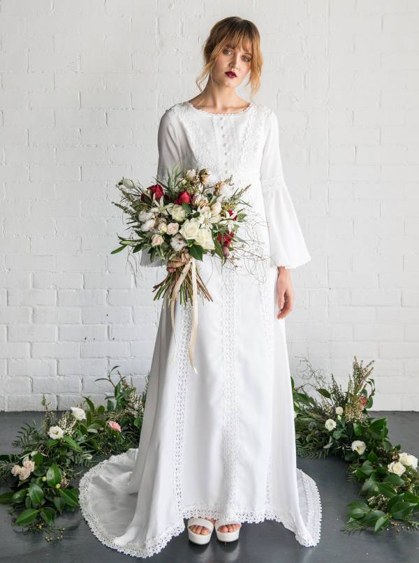 white vintage wedding dress1