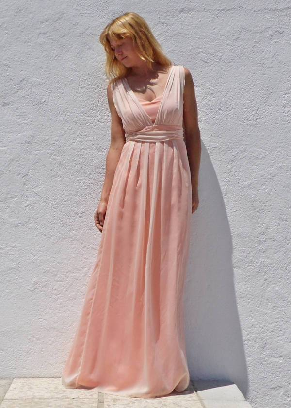 vintage peach bridesmaid dress