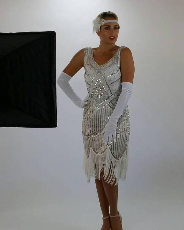 vintage white flapper dress