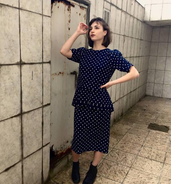 vintage white polka dot dress